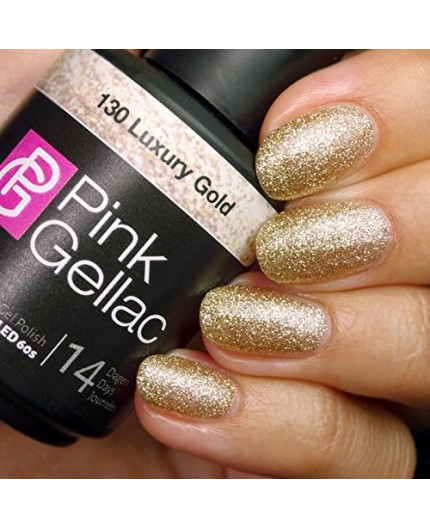 Pink Gellac 130 Luxury Gold Glitter Color Esmalte Gel Permanente.