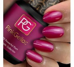 Pink Gellac 170 Powerful Plum es un espectacular fucsia oscuro con un brillo perla que te hará destacar