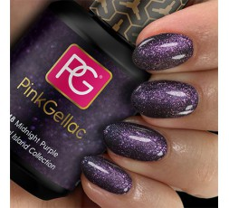 Pink Gellac 248 Midnight Purple es un color lila púrpura con brillos rosas.