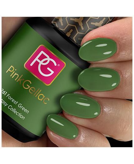 Pink Gellac 261 Forest Green Color Esmalte Gel Permanente