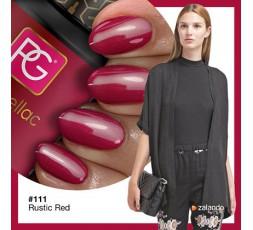 El 111 Rustic Red de Pink Gellac es un esmalte en gel de color rojo tostado con un sutil efecto perla.
