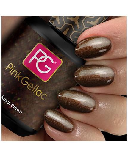 Pink Gellac 114 Royal Brown Color Esmalte Gel Permanente