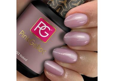 El 152 Naked de Pink Gellac es un pintauñas permanente de color púrpura malva con un encantador destello