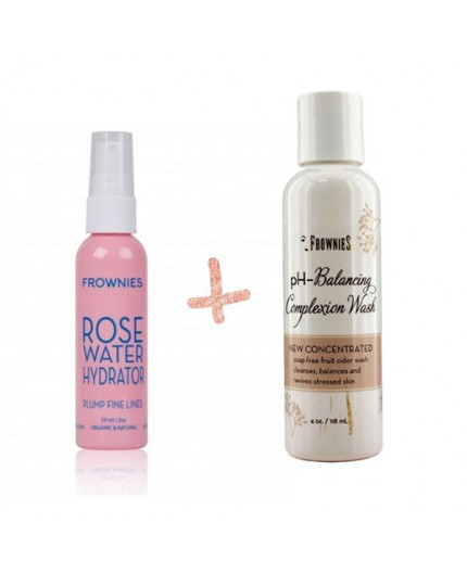 Gel limpiador facial + Tónico agua de rosas de Frownies para rellenar arrugas