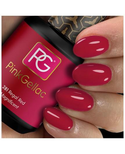 Pink Gellac 281 Regal Red Color Esmalte Gel Permanente
