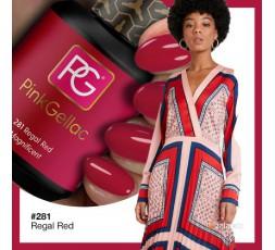 El color de Pink Gellac 281 Regal Red es un rojo precioso en esmalte de gel permanente con un fondo de rosa.