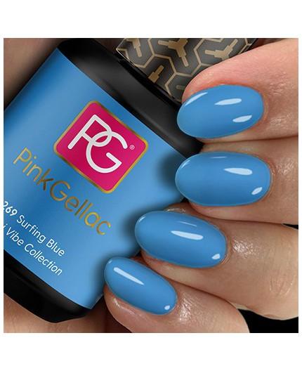 Pink Gellac 269 Surfing Blue Color Esmalte Gel Permanente