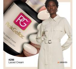 Pink Gellac 296 Laced Cream un esmalte color crema con un tono frío de fondo.