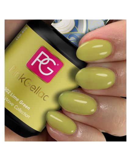 Pink Gellac 302 Lime Green Color Esmalte en gel permanente