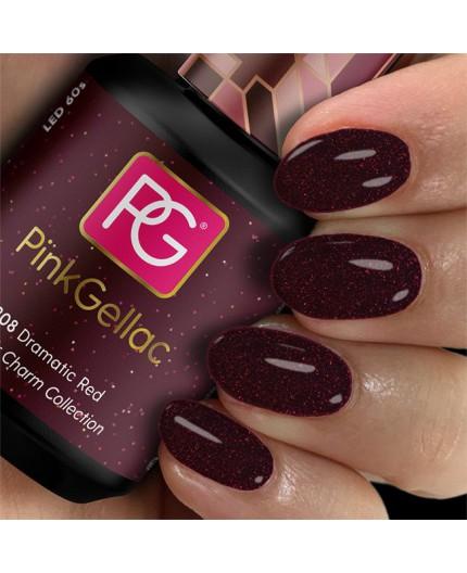 Pink Gellac 308 Dramatic Red Color Esmalte en gel permanente