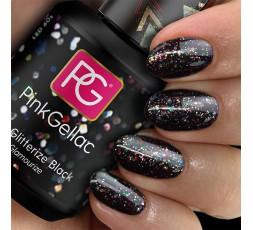 Pink Gellac Negro con purpurina. Uñas festivas que combinan con cualquier look.