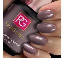 Pink Gellac 225 Shimmery Mauve es un esmalte de uñas de gel malva con un brillo de color bronce.