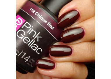 Pink Gellac 112 Chique Red Color Esmalte Gel Permanente