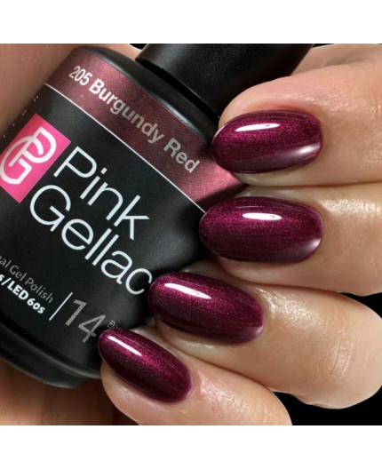 Pink Gellac 205 Burgundy Red Color Esmalte Gel Permanente